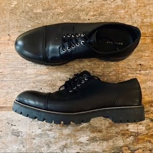Zara Leather Lug Sole Zipper Derby Dress Shoes